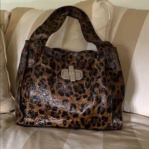 B. Makowsky Leopard Print Leather Purse